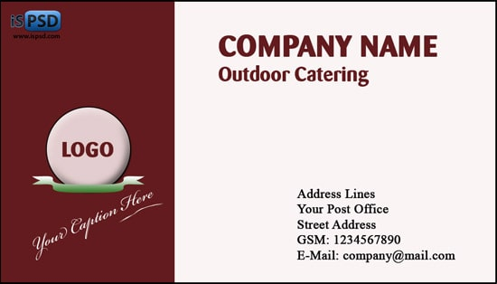 Brown business cards psd for Catering business cards templates free download