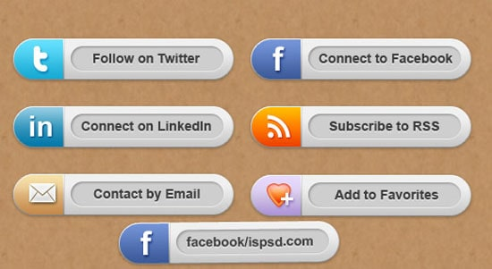 Social Share Buttons PSD