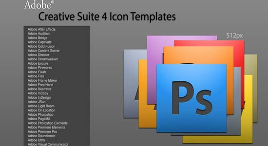Adobe CS4 Icon Templates Collection of Free PSD templates
