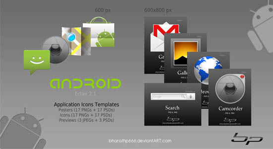 Android Icon Templates Collection of Free PSD templates