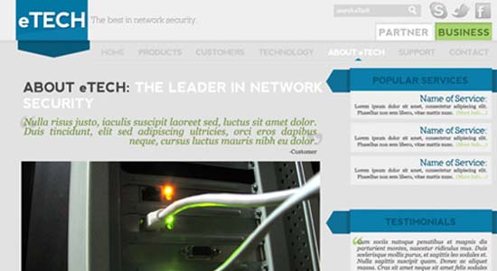 Clean Tech Website Layout