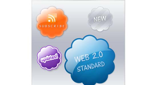 Web 2.0 Badges Collection of Free PSD templates