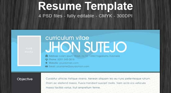 one page resume template Collection of Free PSD templates