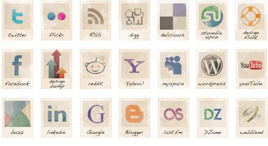 21 free social vintage icons 100+ Cool Social Media & Web 2.0 Icons