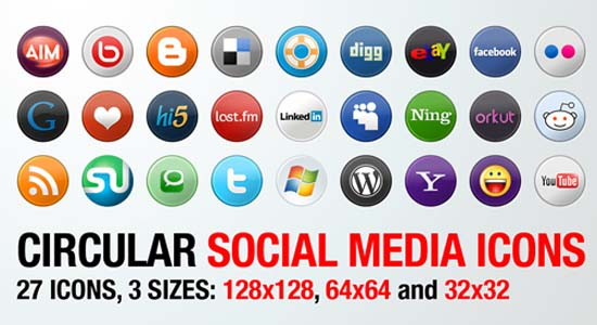27 Circular Social Media Icons in 3 Sizes 100+ Cool Social Media & Web 2.0 Icons