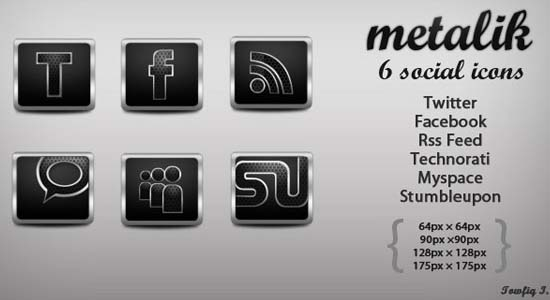 Metalik Social Icons copy 100+ Cool Social Media & Web 2.0 Icons