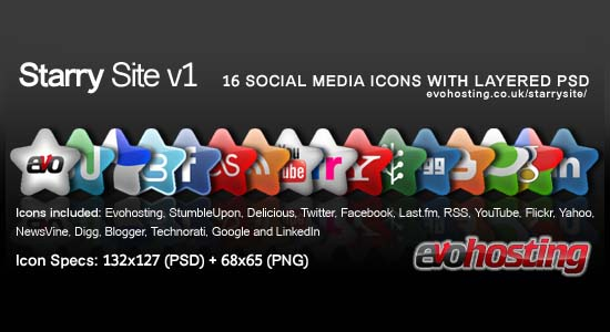 Starry Site NEW 16 Social Media Icons  100+ Cool Social Media & Web 2.0 Icons