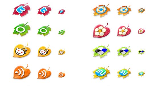 The Leaf Fall a social icon set 100+ Cool Social Media & Web 2.0 Icons