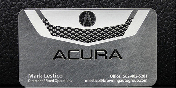 30 awesome metal business card designs awesome acura metal business card reheart Gallery