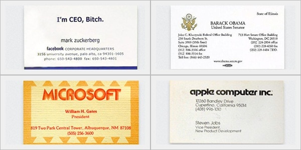 Business Cards of Ten Famous Persons