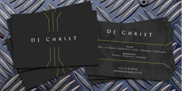 DJ ChrisT Contact Card 50+ Dj Music Business Cards & Designs