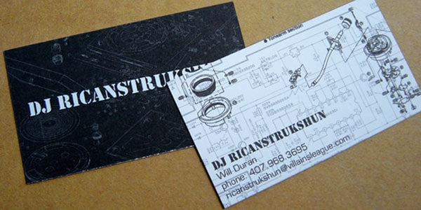 DJ Ricanstrukshun Business Card 50+ Dj Music Business Cards & Designs