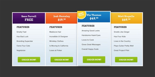 30 Cool Pricing Tables PSD – Product Description Template
