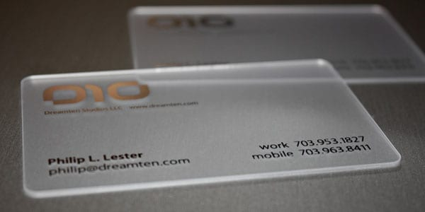 Dreamten Studios 60+ Cool Transparent Business Card Designs