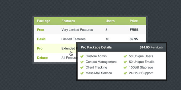 Little Pricing Table & Tooltip PSD