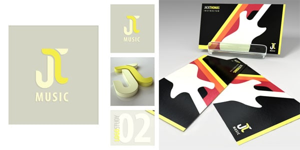 Logo Study JT Music v2 50+ Dj Music Business Cards & Designs
