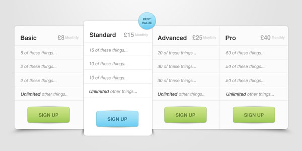 Pricing Table PSD 30+ Cool Pricing Tables PSD
