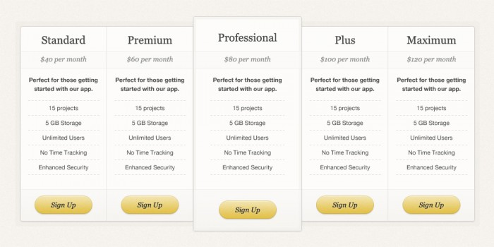 SIMPLE PRICING TABLE (PSD)