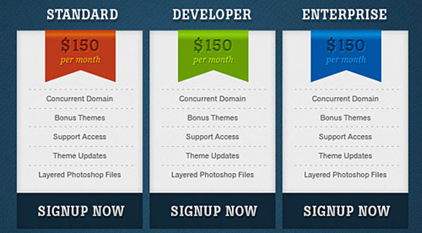 Cool Pricing Tables Psd