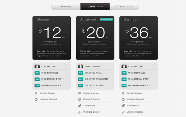 Strada Pricing Table 30+ Cool Pricing Tables PSD
