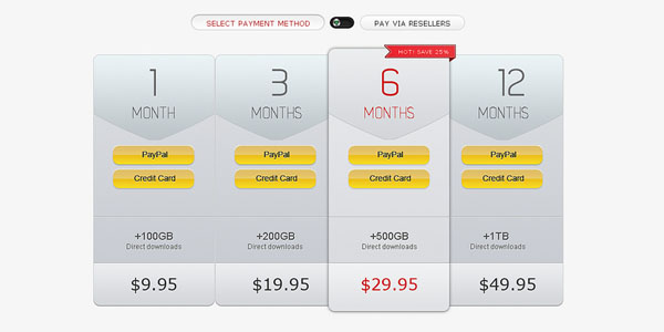 Subtle Pricing Table PSD