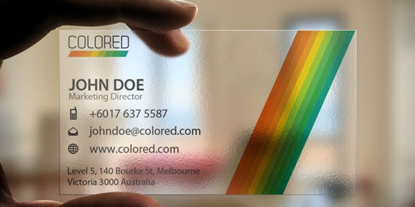 Transparent Colored Business Card 60+ Cool Transparent Business Card Designs