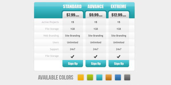 30 cool pricing tables psd