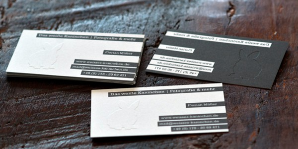 business card white rabbit 60+ Embossed Business Cards for Inspiration