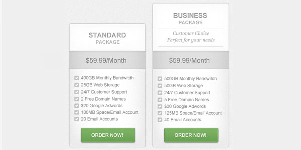clean pricing table preview 30+ Cool Pricing Tables PSD