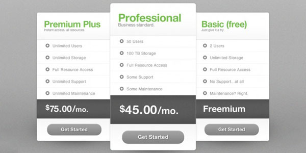 free package pricing psd 30+ Cool Pricing Tables PSD