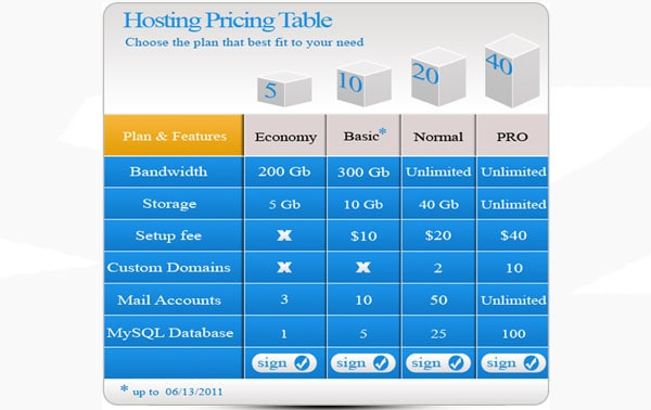 hosting pricing table template 30+ Cool Pricing Tables PSD
