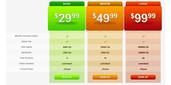 hosting plan preview 30+ Cool Pricing Tables PSD