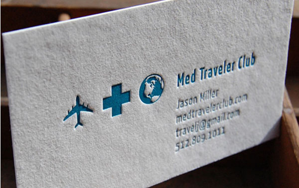 med embossed cards