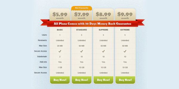 Multi-Color Pricing Table – PSD