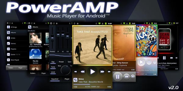 poweramp 20+ Best Android Music Player Apps
