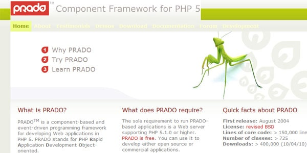 prado Popular PHP Frameworks For Easy Coding