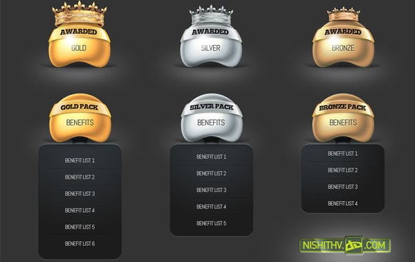 price table and award set psd 30+ Cool Pricing Tables PSD