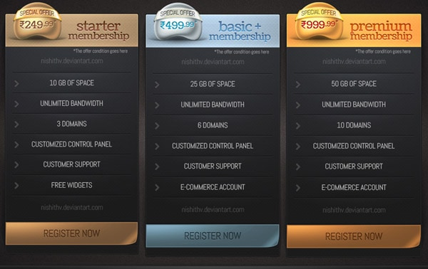 price table set v2 psd 30+ Cool Pricing Tables PSD
