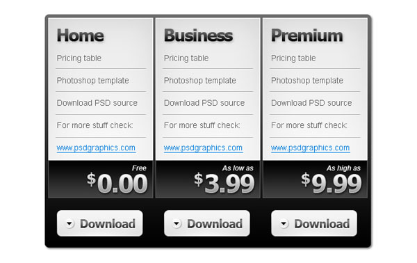 pricing table 30+ Cool Pricing Tables PSD