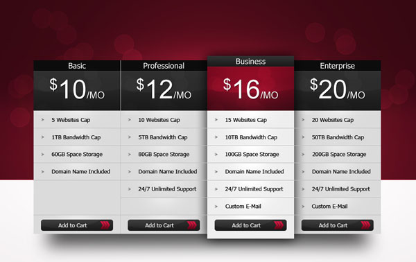 pricing table1 30+ Cool Pricing Tables PSD