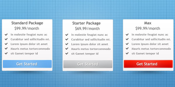 pricing lg 30+ Cool Pricing Tables PSD
