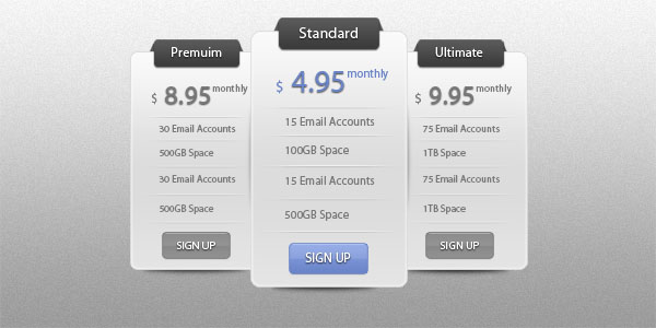 slick price table ui 30+ Cool Pricing Tables PSD