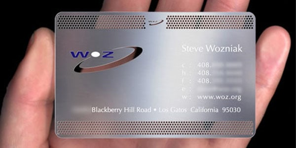 steve wozniak 30+ Awesome Metal Business Card Designs