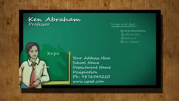 Teacher Business Card PSD - Teacher business card template