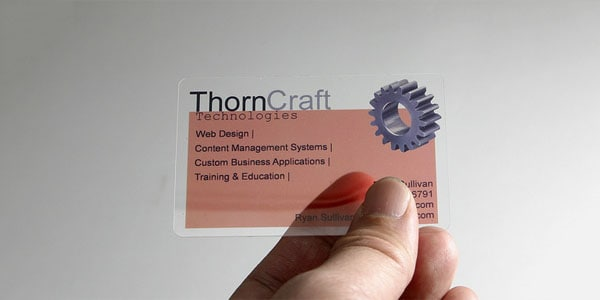 throncraft 60+ Cool Transparent Business Card Designs