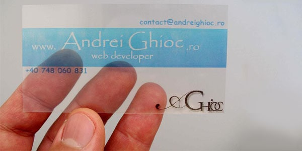 transparent business card1 60+ Cool Transparent Business Card Designs