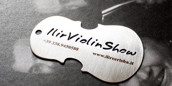 unique metal business card ilir violin show 30+ Awesome Metal Business Card Designs
