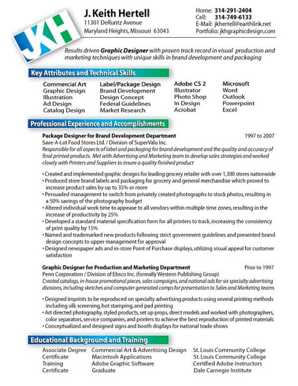 hertell graphic designer resume