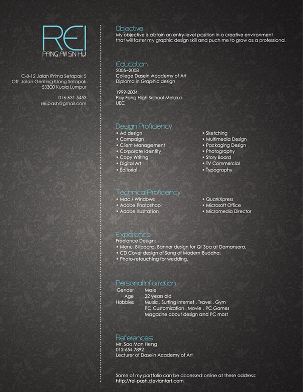 Rei  s Resume by Rei pash 30+ Simple Resume Design Ideas that work