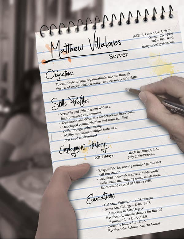 Server Resume by rkaponm 30+ Simple Resume Design Ideas that work